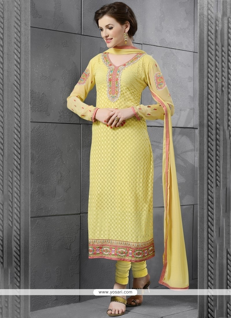 Distinctive Georgette Yellow Embroidered Work Churidar Salwar Kameez