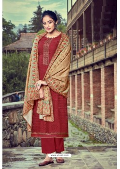Maroon Wool Pashmina Self Embroidered Straight Suit