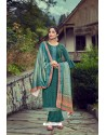 Teal Wool Pashmina Self Embroidered Straight Suit