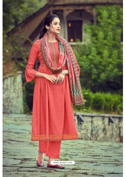 Dark Peach Wool Pashmina Self Embroidered Straight Suit