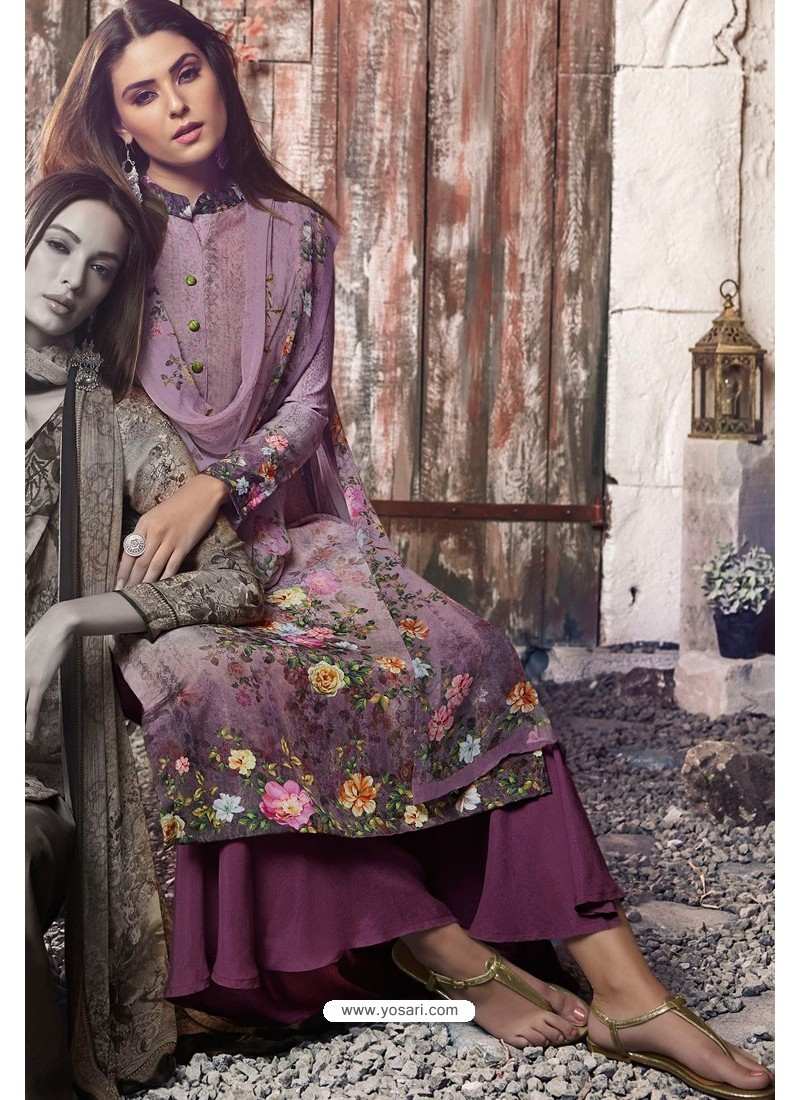 Purple Heavy Sorer Crepe Digital Printed Palazzo Suit