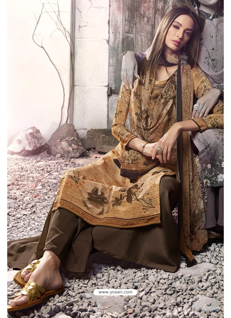 Brown Heavy Sorer Crepe Digital Printed Palazzo Suit