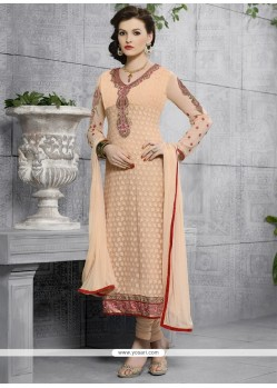 Remarkable Georgette Peach Embroidered Work Churidar Designer Suit