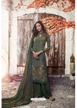 Mehendi Green Heavy Sorer Crepe Digital Printed Palazzo Suit