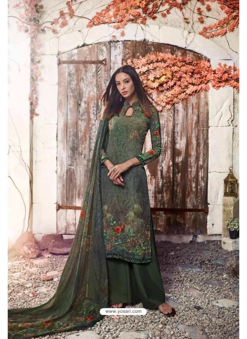Mehendi Green Heavy Sorer Crepe Digital Printed Palazzo Suit