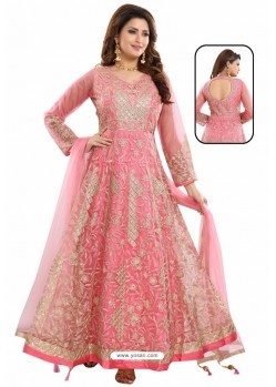 Hot Pink Net With Butter Crape Embroidered Anarkali Suit