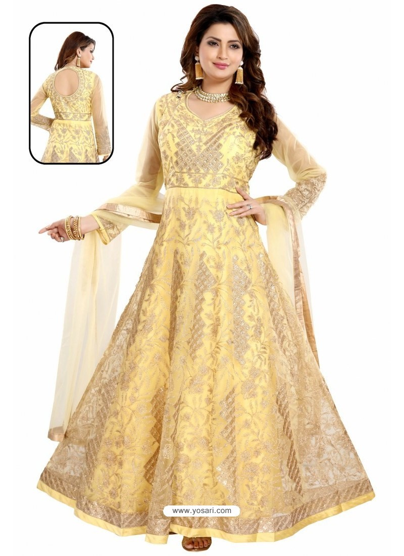 Yellow Net With Butter Crape Embroidered Anarkali Suit