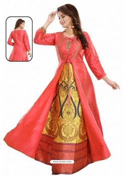 Latest Red Bamboo Silk Jacquard Work Anarkali Suit
