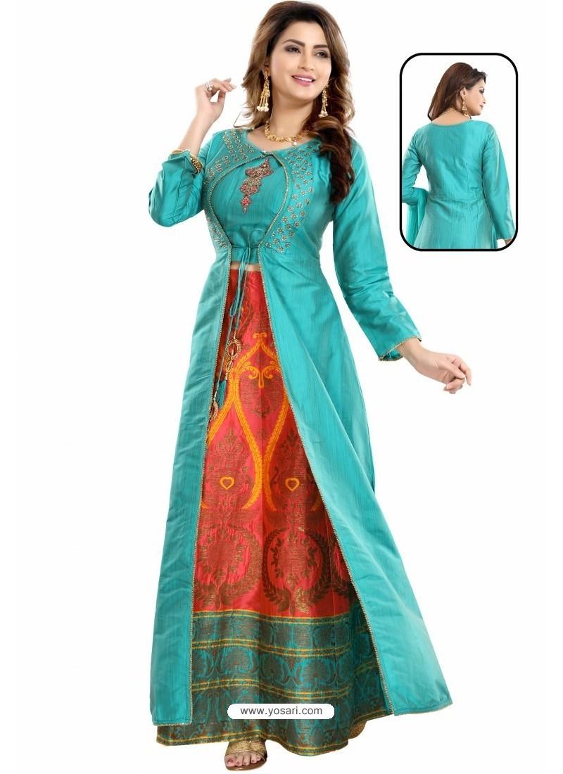 Turquoise Bamboo Silk Jacquard Work Anarkali Suit