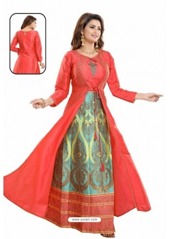 Red Bamboo Silk Jacquard Work Anarkali Suit