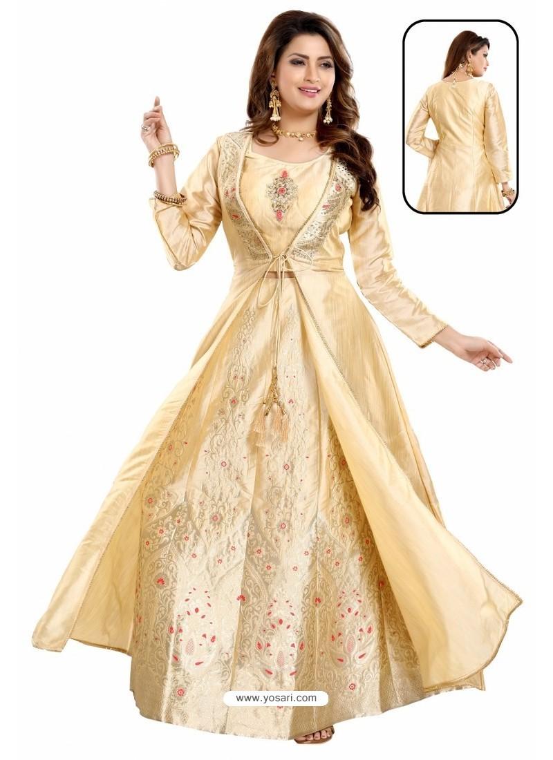 Cream Bamboo Silk Jacquard Work Anarkali Suit