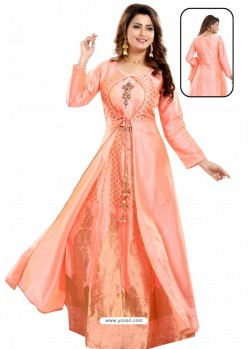 Peach Bamboo Silk Jacquard Work Anarkali Suit