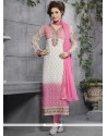 Debonair Georgette Pink And White Lace Work Churidar Salwar Kameez