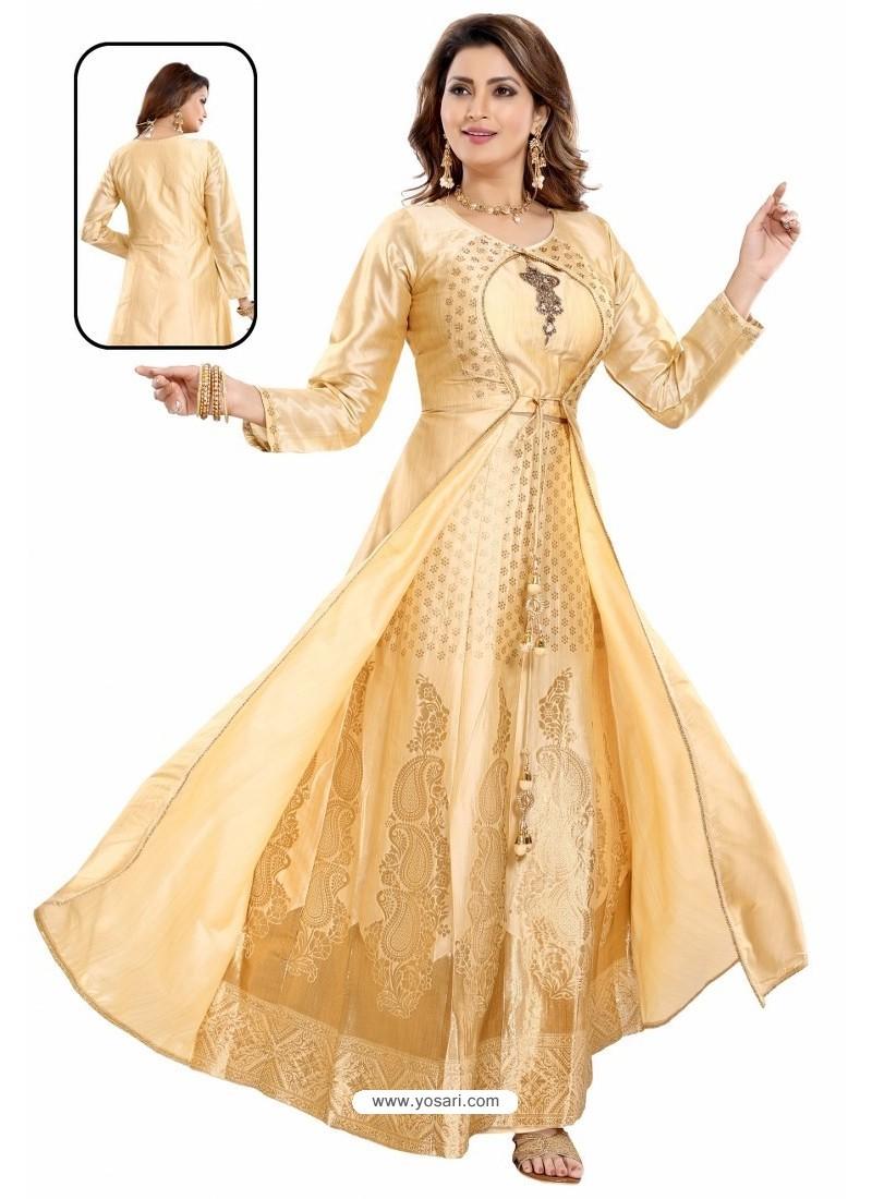 Golden Bamboo Silk Jacquard Work Anarkali Suit