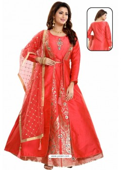 Excellent Red Bamboo Silk Jacquard Work Anarkali Suit