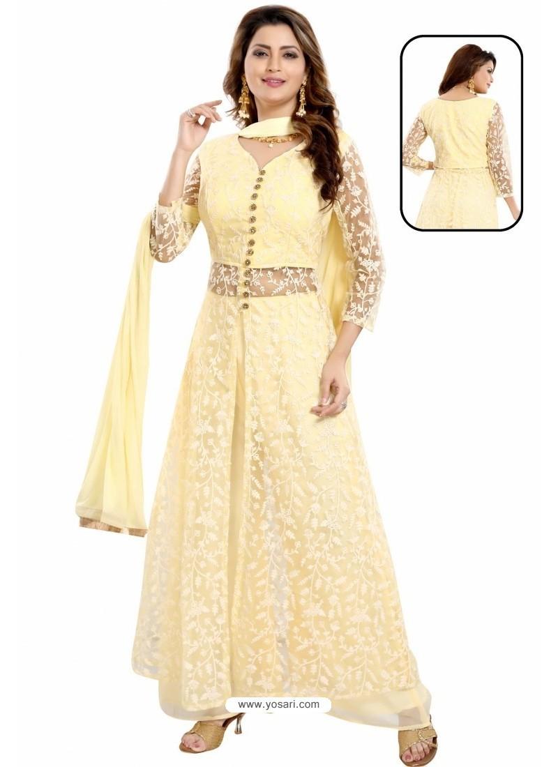 Lemon Net With Lucknowi Worked Anarkali Suit