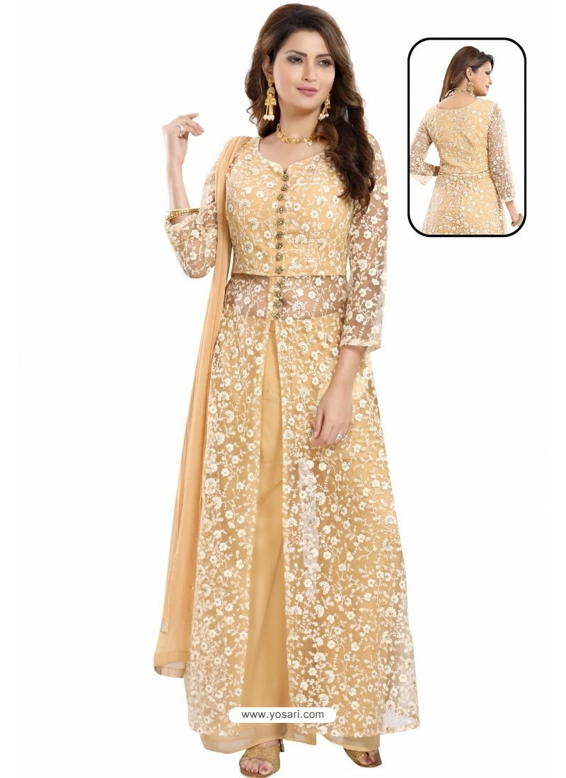 Light Beige Net With Lucknowi Worked Anarkali Suit
