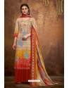 Light Beige And Red Pure Pashmina Jacquard Printed Palazzo Suit