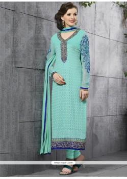 Desirable Lace Work Turquoise Churidar Salwar Suit