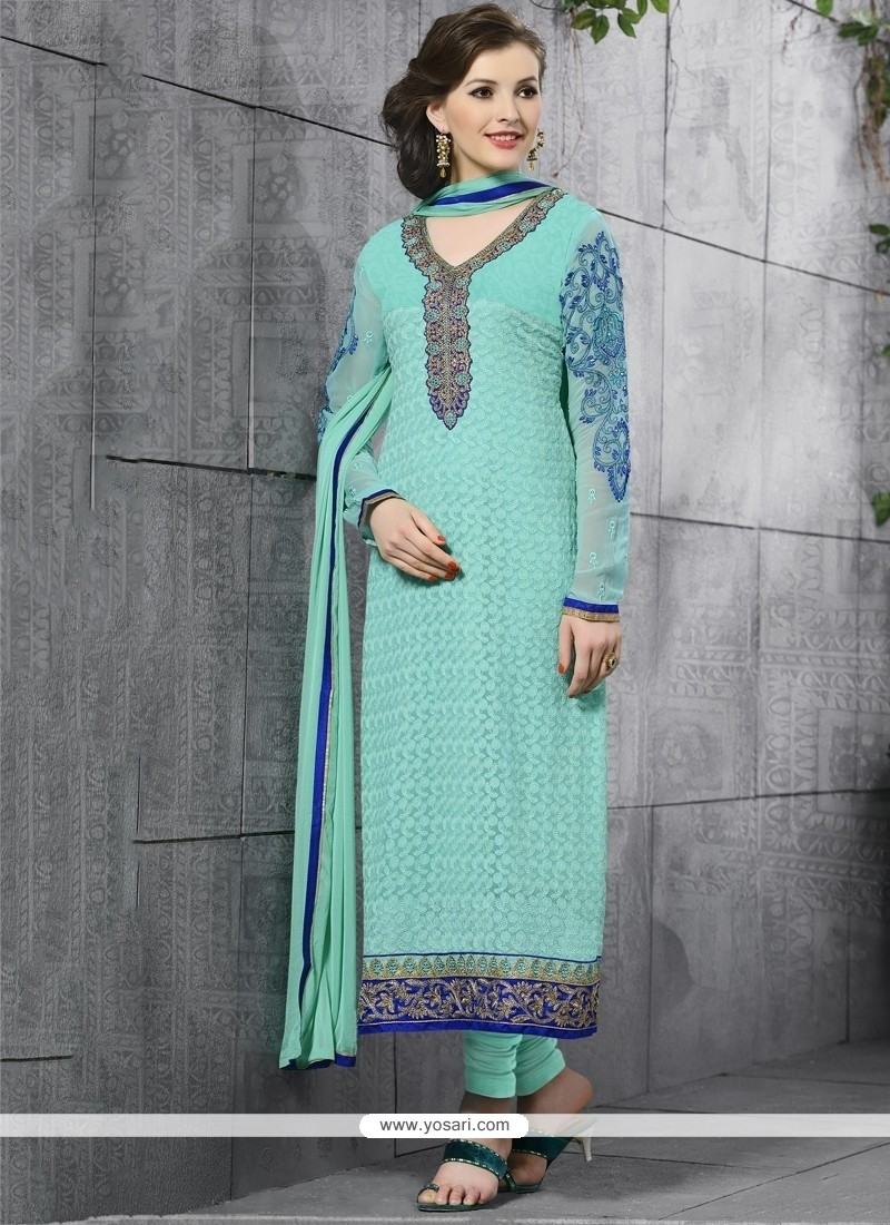 Desirable Lace Work Turquoise Churidar Salwar Suit