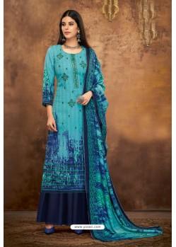 Blue Pure Pashmina Jacquard Printed Palazzo Suit