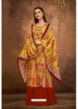 Mustard Pure Pashmina Jacquard Printed Palazzo Suit