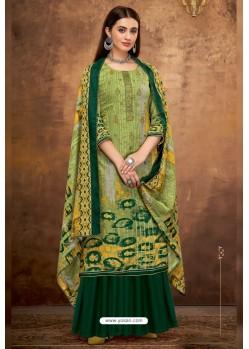 Green Pure Pashmina Jacquard Printed Palazzo Suit