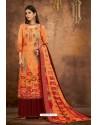 Orange Pure Pashmina Jacquard Printed Palazzo Suit
