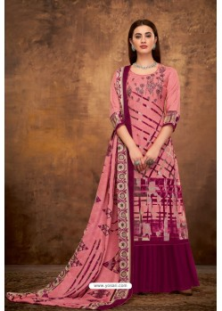 Light Pink Pure Pashmina Jacquard Printed Palazzo Suit