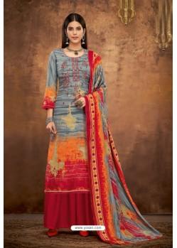 Multi Colour Pure Pashmina Jacquard Printed Palazzo Suit