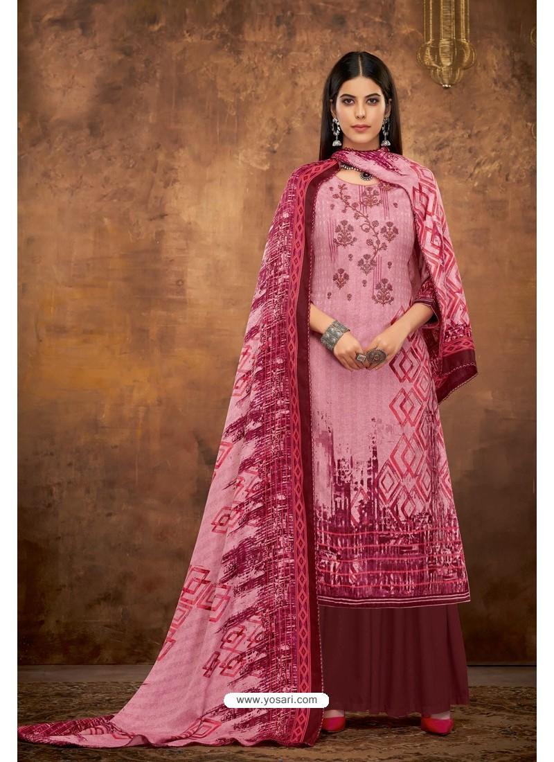 Hot Pink Pure Pashmina Jacquard Printed Palazzo Suit