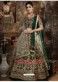 Dark Green Satin Silk Thread Worked Party Wear Lehenga Choli