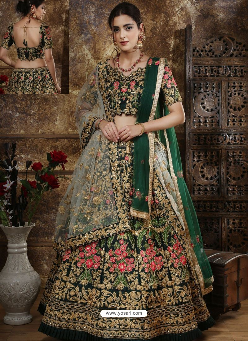 Dark Green Satin Silk Thread Worked Party Wear Lehenga Choli