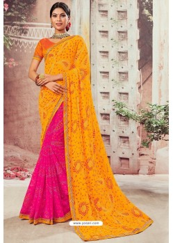 Orange And Magenta Chiffon Designer Saree