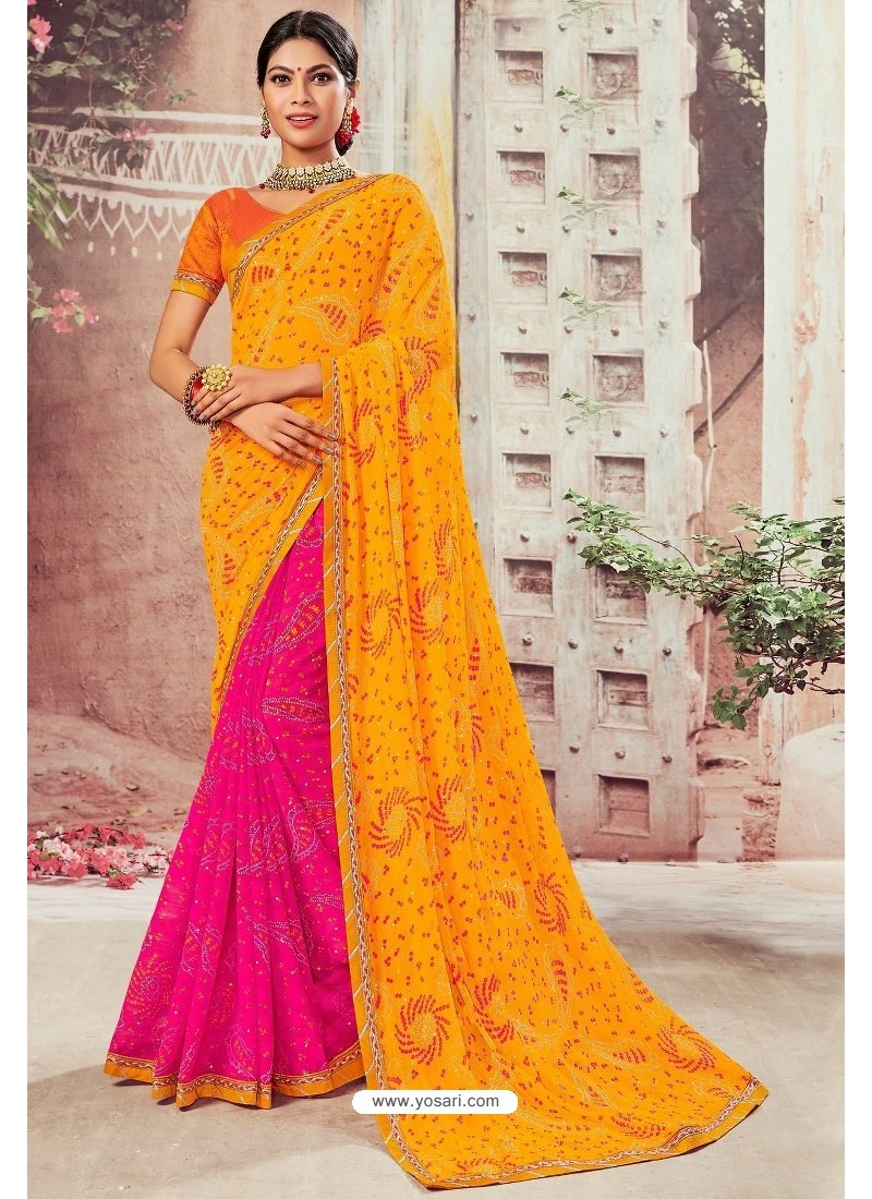 Orange And Magenta Chiffon Designer Saree