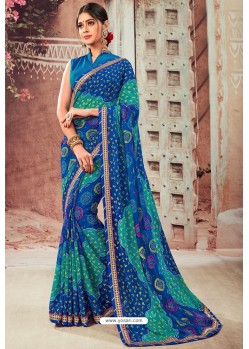 Multi Colour Chiffon Designer Saree