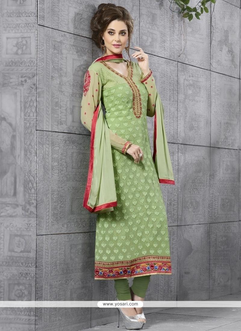 Sumptuous Resham Work Green Churidar Salwar Kameez