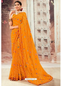 Orange Chiffon Designer Saree
