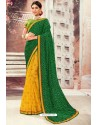 Dark Green Chiffon Designer Saree