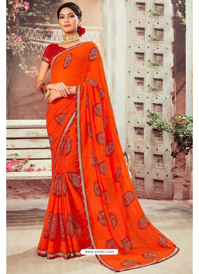 Tomato Red Chiffon Designer Saree