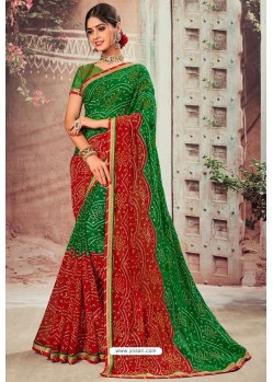 Dark Green And Red Chiffon Designer Saree