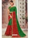 Dark Green And Red Chiffon Designer Saree