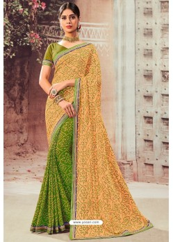 Cream And Green Chiffon Designer Saree