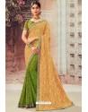 Cream And Green Chiffon Designer Saree