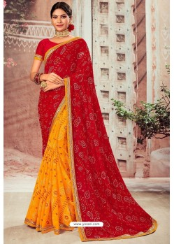 Maroon And Yellow Chiffon Designer Saree