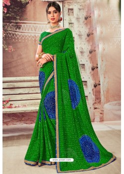 Forest Green Chiffon Designer Saree