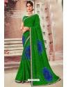 Forest Green Chiffon Designer Saree