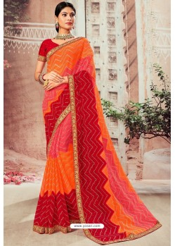 Stylish Multi Colour Chiffon Designer Saree