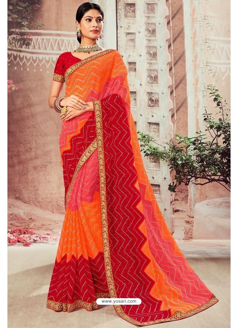 Stylish Multi Colour Chiffon Designer Saree