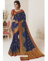 Navy Blue Tussar Silk Designer Saree